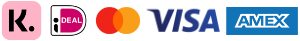 Logo van betaalmethodes Mastercard, Visacard, American Express, Klarna Achteraf Betalen en iDEAL.